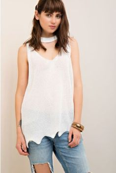 """Valerie"" Mock Neck Sweater Tank - Off White"