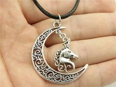 Crescent Moon and Unicorn Necklace