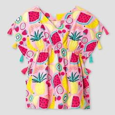 Toddler Girls' Fruit Print Cover Up Dress With Tassels Cat & Jack™ - Pink