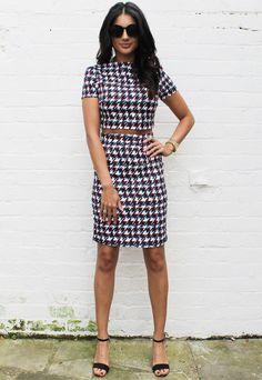 Blurred Dogtooth High Neck Crop Top and Pencil Skirt Co-ord Set in Multi