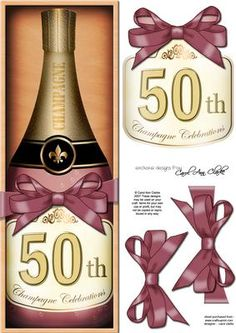 Large DL 50th Champers in a Box Quick Card 3D Decoupage on Craftsuprint designed by Carol Clarke - A Lovely Gift Pack Bottle of Champagne in a wooden box, topped with a ribbon wrap and a bow.Ready to use Large DL card front with 3d step by step decoupage topper.This design is also available in other coordinating colourways/designs and together they would make a great set of cards to sell at craft fairs etc.This design is great for Female Birthday Cards, Male Birthday Cards, Wedding ...