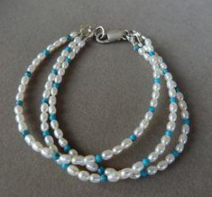 Multi-strand Pearl & Turquoise Bracelet with Sterling Silver