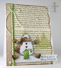 Cute Merry Christmas Card...with snowman & string and book paper.
