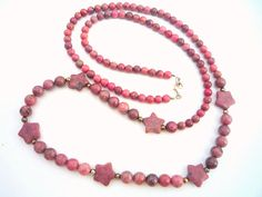 ★ Wonderful pink ideas★ by Christa Mavropoulou on Etsy Star Necklace, Gemstone Necklace, Beaded Necklace, Ring Bracelet, Ring Earrings, Etsy Handmade, Handmade Art, Pink Gemstones, Star Shape