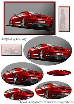 Red Ferrari Pyramid on Craftsuprint designed by Sue Way - A sporty red Ferrari framed in red