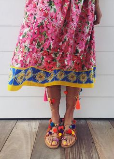 super colorful outfit and pom pom sandals