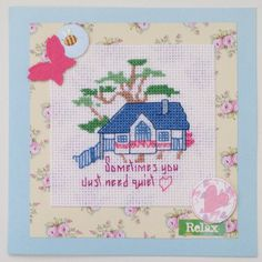 Tree house cross stitch card handmade with the wording 'sometimes you just need quiet' by PosieAndMarmalades on Etsy