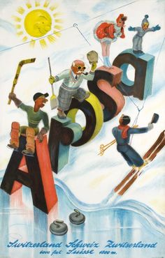 Arosa  (Laubi Hugo / 1938) Great Hugo Laubi poster for Arosa, the famous wintersport resort in the St-Moritz region. Rare.