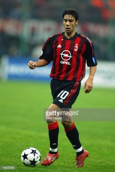 Rui Costa of AC Milan in action during the Champions League match between AC Milan and Real Madrid at the San Siro Stadium in Milan Italy on November 26 2002 The match ended 10 to AC Milan