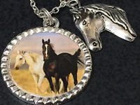 "Horses Wild Running Charm Tibetan Silver 18"" Necklace"