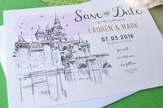 Disney World Fairytale Wedding, Cinderella's Castle, Orlando Wedding Watercolor Save the Date Cards (set of 25 cards)