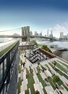"""DUMBO's enormous Empire Stores warehouses are going to be very """"Brooklyn,"""" and here are the new renderings to prove it Concept Models Architecture, Landscape Architecture Design, Garden Landscape Design, Sustainable Architecture, Architecture Plan, Urban Landscape, Contemporary Architecture, Residential Architecture, Empire Store"""