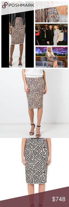 NWT Givenchy Jaguar Print Pencil Skirt Blk/Pnk/Tan This Givenchy print was ALLOVER Hollywood!  It is a stunning spin on the classic leopard print!  Pencil Skirt, Mid-Rise Waistline With Side Zip Closure, Back Vent Detail, Stretch Fit And Knee-Length Cut, 95% Viscose, 5% Elastane, Dry Clean, Made In Italy.New creative director, Italian designer, Riccardo Tisci has completely renovated the brand Hubert de Givenchy founded in 1952.Tisci has put forth his gothic touches to his revitalize the…