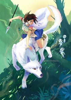 From Princess Mononoke: forest fight by mariposa-nocturna on deviantART.