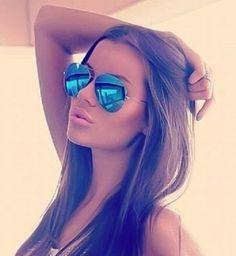 Blue Mirror Aviator Sunglasses Silver Frame Hot Famous Cool Sunglasses Men Women #Aviator #Aviator