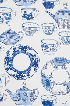 Delft wallpaper by Molly Hatch. Molly illustrated all of her gorgeous Delft dinnerware for a lovely wallpaper at Anthropologie.