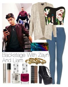 """""""Backstage With Liam And Zayn"""" by onedirection-outfits1d ❤ liked on Polyvore featuring Topshop, Paper Dolls, Ilia, Jeffrey Campbell, Zero Gravity, Gorjana, Revlon, women's clothing, women's fashion and women"""