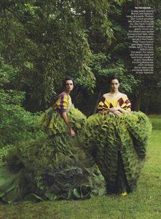 .Galliano topiary dresses.
