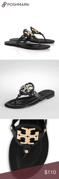 Tory Burch Miller 2 Black Gold Logo Sandals Size 7 Tory Burch Miller Logo Sandals. Like new. Only worn twice. Great condition! Size 7 Tory Burch Shoes Sandals