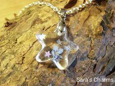 Silberkette Vergissmeinnicht Gießharz Stern 20 mm von Sara´s Charms auf DaWanda.com