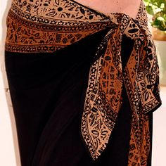 Solid Black Tahitian Inspired Beach Wrap Skirt by PuaWear on Etsy