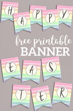 Customize a DIY happy Easter banner, happy birthday banner, spring banner, or unicorn party banner. Free Banner, Diy Banner, Free Printable Banner Letters, Diy Birthday Banner, Happy Birthday Banners, 60th Birthday, Happy Easter Banner, Spring Banner, Thanksgiving Banner