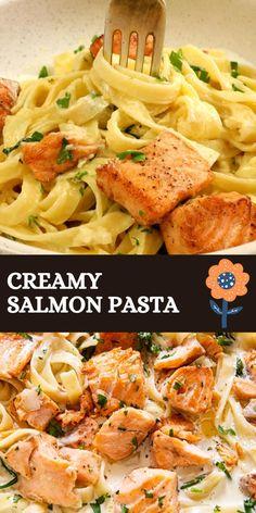 Baked Salmon Recipes, Fish Recipes, Salmon Recipe Pan, Veggie Recipes, Best Seafood Recipes, Healthy Pasta Recipes, Vegetarian Recipes, Cooking Recipes, Creamy Salmon Pasta