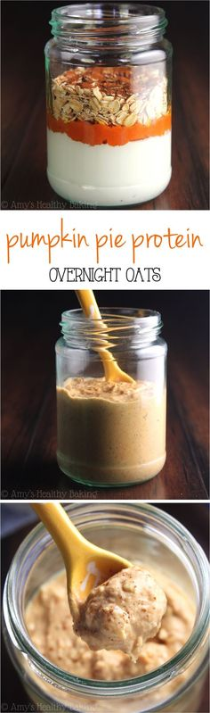 Pie Protein Overnight Oats -- just 5 healthy ingredients & of protein! Eat dessert for breakfast without any guilt!Pumpkin Pie Protein Overnight Oats -- just 5 healthy ingredients & of protein! Eat dessert for breakfast without any guilt! Oatmeal Recipes, Pumpkin Recipes, Fall Recipes, Cereal Recipes, Clean Eating Recipes, Cooking Recipes, Diet Recipes, Healthy Recipes, Sweets