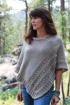 "Knit while traveling through South Dakota and Colorado. High Plains is a poncho with texture and details that come together to showcase effortless, relaxed style.2 sizes available S/M and L/XL with finished measurements laid flat: 32(34)""/81(86.25)cm at widest point, 22(24)""/56(60)cm from neckline to hem.Poncho is knit in 2 pieces and seamed together.Sample is shown in size L/XL using Cascade Yarns 220 Heathers, Doeskin color."