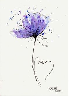 Poppy Flower Water Color Hand Painted Original Watercolor Art Painting Pen and Ink Blue Purp. - Poppy Flower Water Color Hand Painted Original Watercolor Art Painting Pen and Ink Blue Purple Pop - Watercolor Art Paintings, Watercolor And Ink, Watercolor Flowers, Original Paintings, Original Artwork, Painting Flowers, Drawing Flowers, Tattoo Watercolor, Poppy Drawing