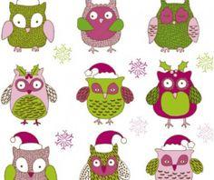 Cartoon christmas owl cute vector