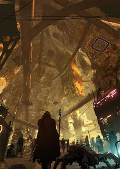 Impressive SciFi illustration for the graphic novel 'Gateway' by Germany based concept artist and illustrator Lorenz Hideyoshi Ruwwe. Cyberpunk Kunst, Sci Fi Kunst, Cyberpunk City, Futuristic City, Fantasy Kunst, Sci Fi Fantasy, Fantasy World, Sci Fi Stadt, Science Fiction Kunst