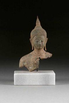 BUDDHA SHAKYAMUNI - - Thailand, Ayutthaya-Periode, 16. Jh. - - Bronze. H.[...]