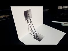 How to Draw Impossible Situation - Drawing Figure & Ladder - Trick Art on Pap. - אקוניס משה - It is The Time Club 3d Pencil Drawings, 3d Art Drawing, Art Drawings Sketches Simple, Paper Drawing, Easy Drawings, Drawing Ideas, Illusion Drawings, Illusion Art, Op Art Lessons