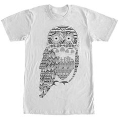 The owl of the hour makes his debut on the Lost Gods Arrow Print Owl White T-Shirt! A black and gray print on the front of this awesome white owl shirt features pops of southwest print, arrows, and chevron print. 100% Cotton. Printed in the U.S.A. Printed With Eco-Friendly Inks Machine Washable Fifth Sun Fashionable Slim-Fit Owl Shirt, T Shirt Company, Arrow Print, Black And Grey, Gray, Fabric Tape, Arrows, Nice Dresses, Chevron