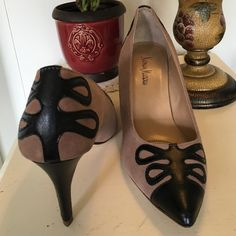 """Neiman Marcus heels Neiman Marcus Smarty 3 1/2"""" heels. Taupe suede and black. Never worn. Faint scuff as seen in picture. Neiman Marcus Shoes Heels"""