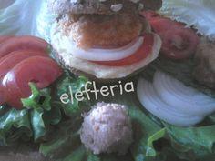 Υλικά  ψωμάκια στρόγγυλα  μπιφτέκια μπακαλιάρου  σκορδαλιά  ντομάτα σε φέτες  κρεμμύδι σε ροδέλες  μαρούλι    Εκτέλεση  Ανοί... Hamburger, Homemade, Snacks, Ethnic Recipes, Food, Appetizers, Home Made, Essen, Burgers