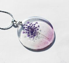 Pressed Flower Necklace 01 Resin Jewelry Purple Queen Annes Lace Dandelion Transparent Pendant 925 Silver Plated via Etsy