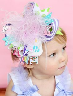 Easter Basket- Over The Top Hairbow Headband