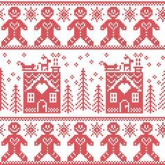 Vector: Scandinavian Nordic Christmas seamless pattern with gingerbread man , stars, snowflakes, ginger house, trees, xmas gifts, reindeer, sleigh, snow in red cross stitch Beaded Cross Stitch, Cross Stitch Borders, Crochet Cross, Cross Stitch Embroidery, Cross Stitch Patterns, Halloween Embroidery, Christmas Embroidery, Christmas Knitting, Nordic Christmas
