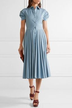 Michael Kors Collection - Pleated Cotton-blend Poplin Midi Dress - Sky blue - US12