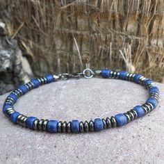 FREE SHIPPING-Men's Bracelet, Men's Beaded Bracelet, Men's Blue Wood Bracelet, Men's Hematite Bracelet, Bracelets For Men, Blue Bracelet by BraceBelovedMen on Etsy https://www.etsy.com/listing/201859720/free-shipping-mens-bracelet-mens-beaded