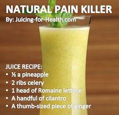 Natural Pain Killer — Juicing For Health slimming detox water Healthy Juice Recipes, Juicer Recipes, Healthy Juices, Healthy Smoothies, Healthy Drinks, Juicing Recipes For Detox, Healthy Shakes, Healthy Detox, Health Foods