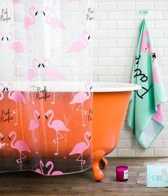 bathroom with flaminggo elements