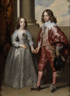 William II, Prince of Orange (eventually King of England) (1626-1650), and his wife Princess/Queen of England, Mary Stuart  (Mary II) (1631-1660), The two were cousins - he was 10 years older than she. Troubled by asthma, he was a small & sickly person all of his life. by Anthony van Dyck, 1641. Rijksmuseum, Amsterdam.