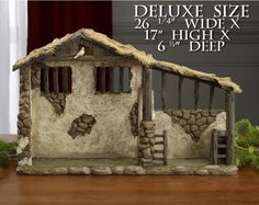 Three Kings Gifts Lighted Nativity Stable - Deluxe Size for 14 Inch Figures