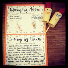 FREE writing & craft activities for Interrupting Chicken – Happy Teacher – art therapy activities Library Activities, Art Therapy Activities, Craft Activities, Writing Activities, Preschool Ideas, Teaching Ideas, Craft Ideas, Interrupting Chicken, Preschool Social Skills