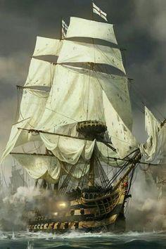 Ship of the line releasing a broadside. - Ship of the line releasing a broadside. Bateau Pirate, Pirate Art, Pirate Ships, Old Sailing Ships, Hms Victory, Ship Of The Line, Ship Paintings, Wooden Ship, Navy Ships