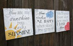 You Are My Sunshine Wood Nursery Sign Nursery Wall Art Nursery Wallhanging…