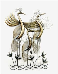 Heron Trio Metal Wall Art